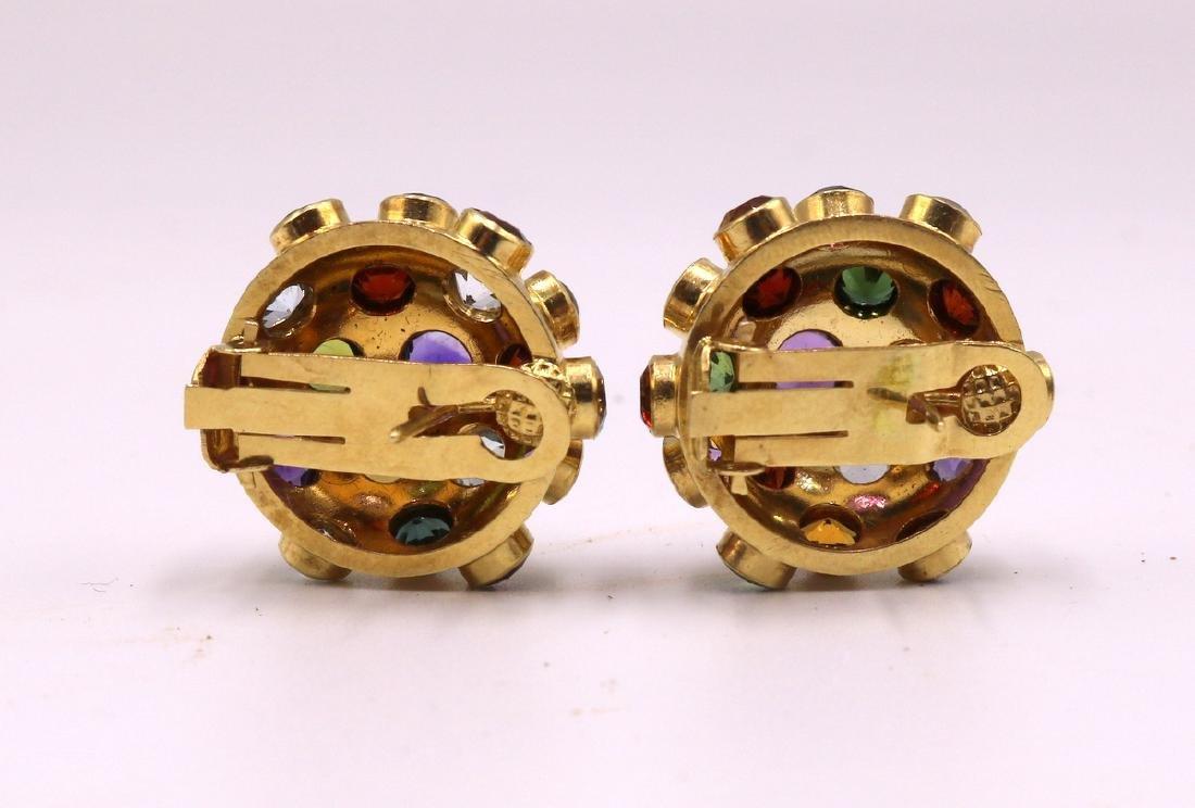 Pair of 18Kt YG Semi-Precious Stone Earrings - 2