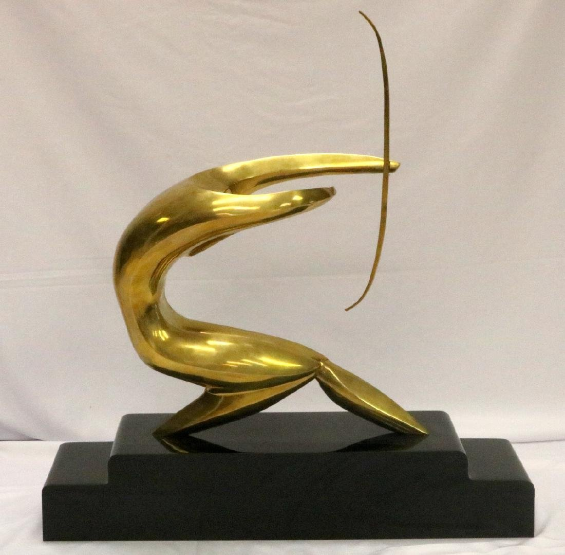 Mid-Century Modern M. Delo (Italian 20th C.) Brass Scul