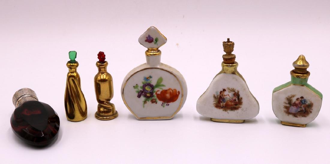 6 Pc. Miniature Painted Porcelain Perfume Bottles