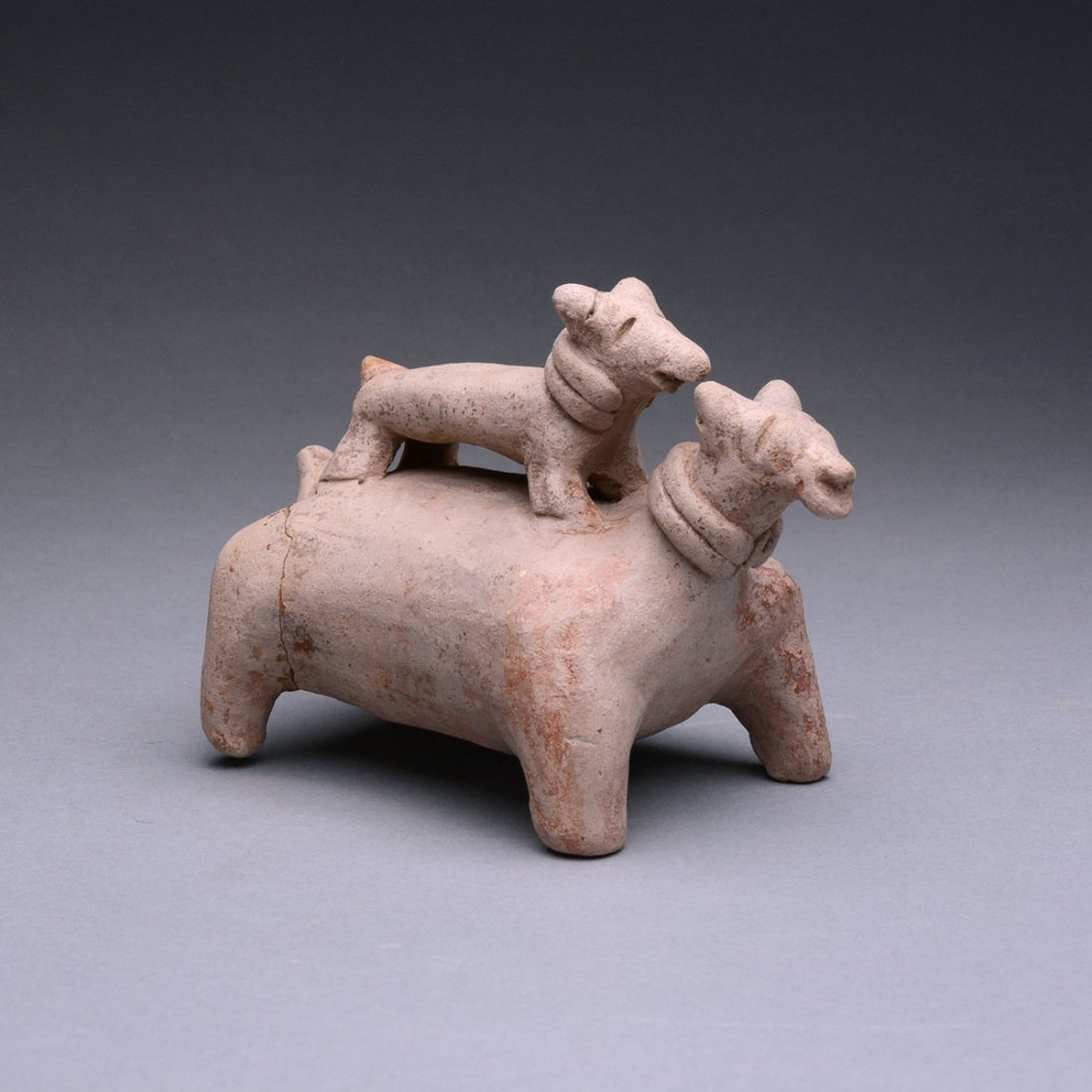 A Jalisco Terracotta Dog with Puppy