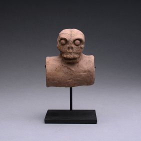 A Mayan Terracotta Skull Tube