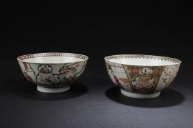 Two Antique Chinese Famille Verte Porcelain Bowls
