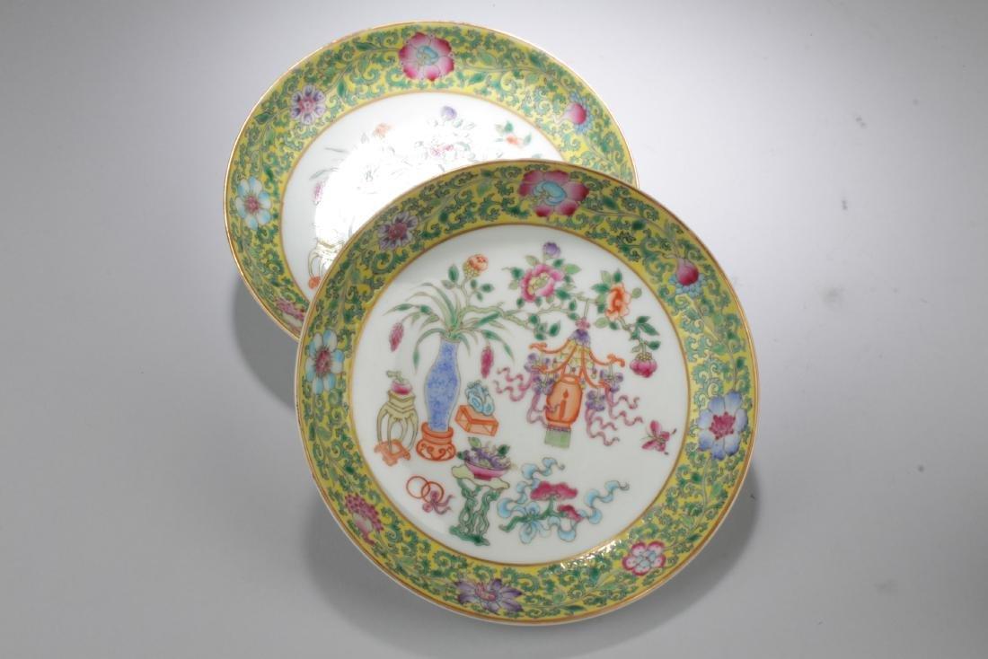 A Pair of Famille Verte Porcelain Plates