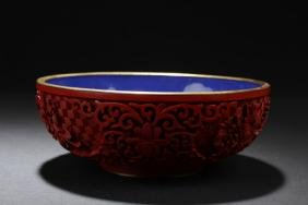 Antique Chinese Cinnabar Lacquered Porcelain Bowl