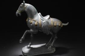 Antique Chinese Pewter Horse Statue