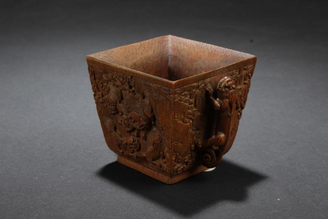 Chinese Antique Bamboo Carved Square Cup