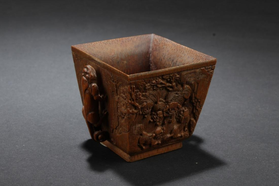Chinese Antique Bamboo Carved Square Cup - 2