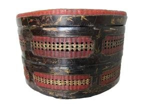 Antique Chinese Cane Two Tier Round Container