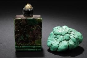 A Chinese Snuff Bottle and A torquoise color stone