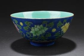 A Contrast-blue Chinese Plant-filled Porcelain Bowl