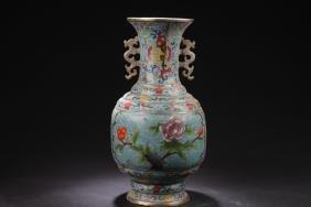 A Bat-framing Cloisonne Chinese Vase