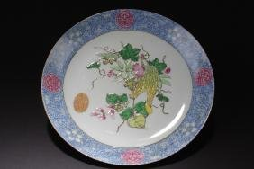 A Long-life Fortune Chinese Plant-fill Porcelain Plate