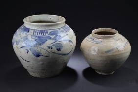 Two Antique Chinese Blue & White Porcelain Jar