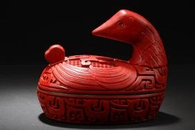 Chinese Cinnabar Duck Container
