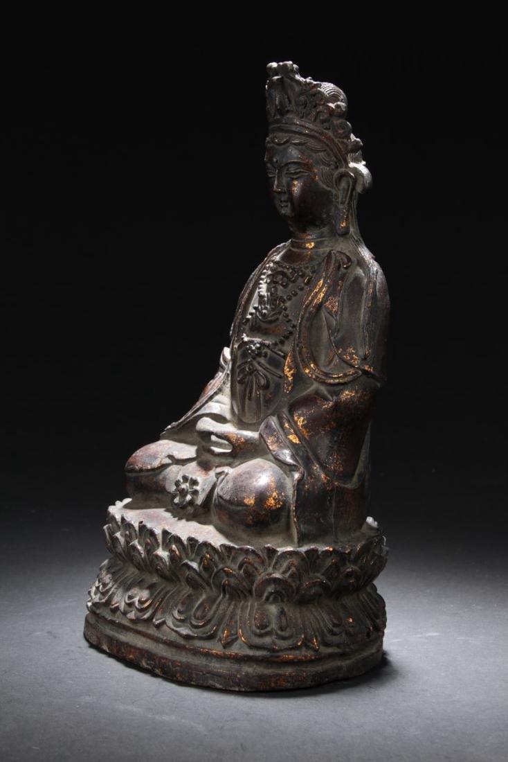 Chinese Gilt Bronze Guanyin Statue - 3