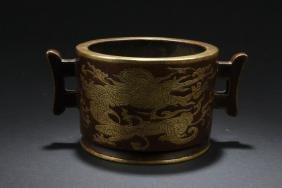 A Dragon-decorating Gilt Chinese Censer