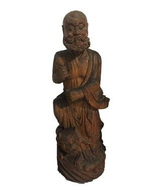 Antique Chinese Wooden Damo Carved Statue