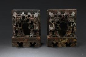 A Pair of Chinese Marble Stone Carved Ornament