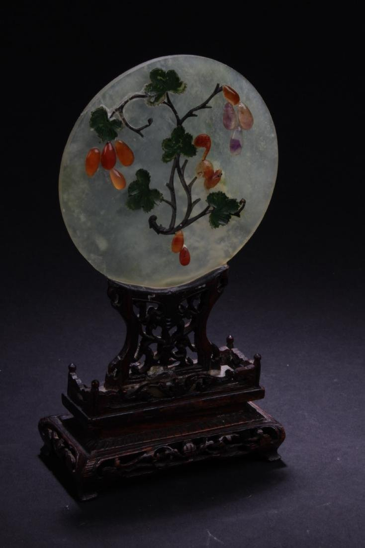 Antique Chinese Jade Table Screen