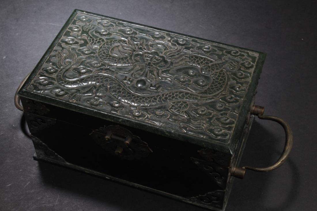 Chinese Spinach Jade Rectangular Box