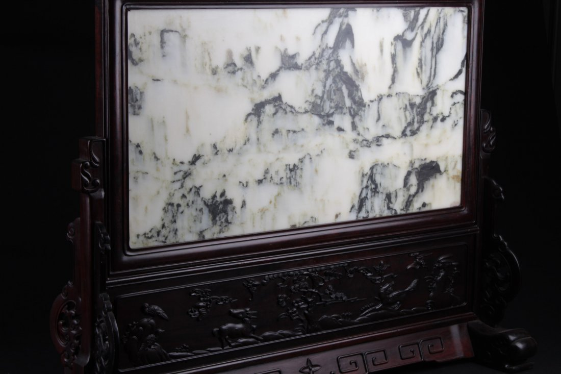 Chinese Hardwood Table Screen Display with Jade Inlay - 2