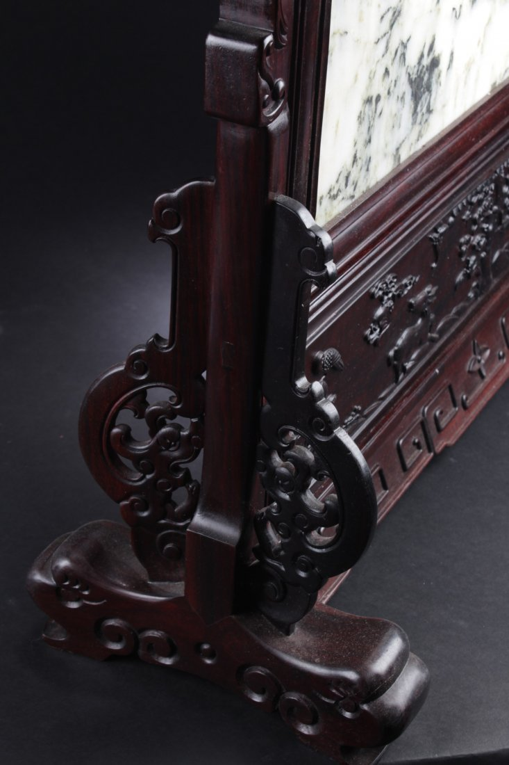 Chinese Hardwood Table Screen Display with Jade Inlay - 4