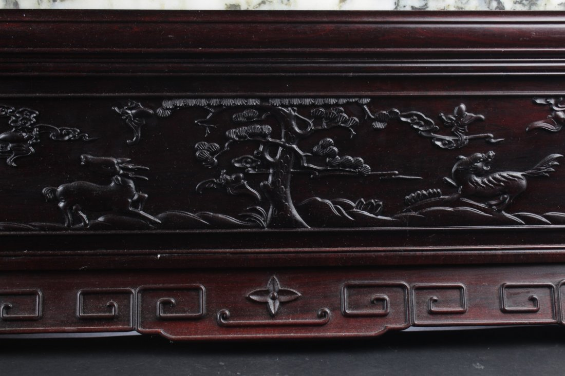 Chinese Hardwood Table Screen Display with Jade Inlay - 5