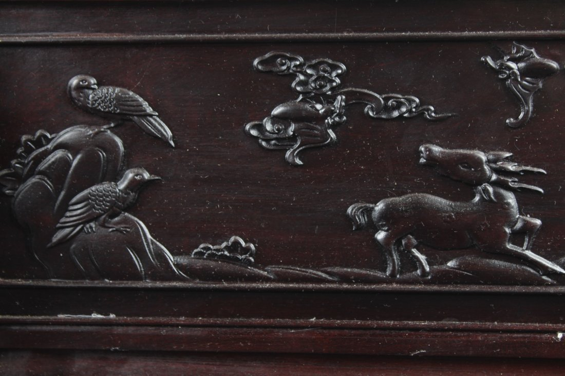 Chinese Hardwood Table Screen Display with Jade Inlay - 6