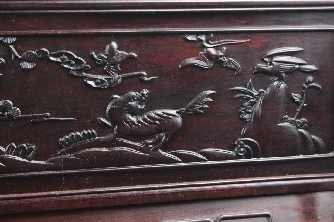 Chinese Hardwood Table Screen Display with Jade Inlay - 7