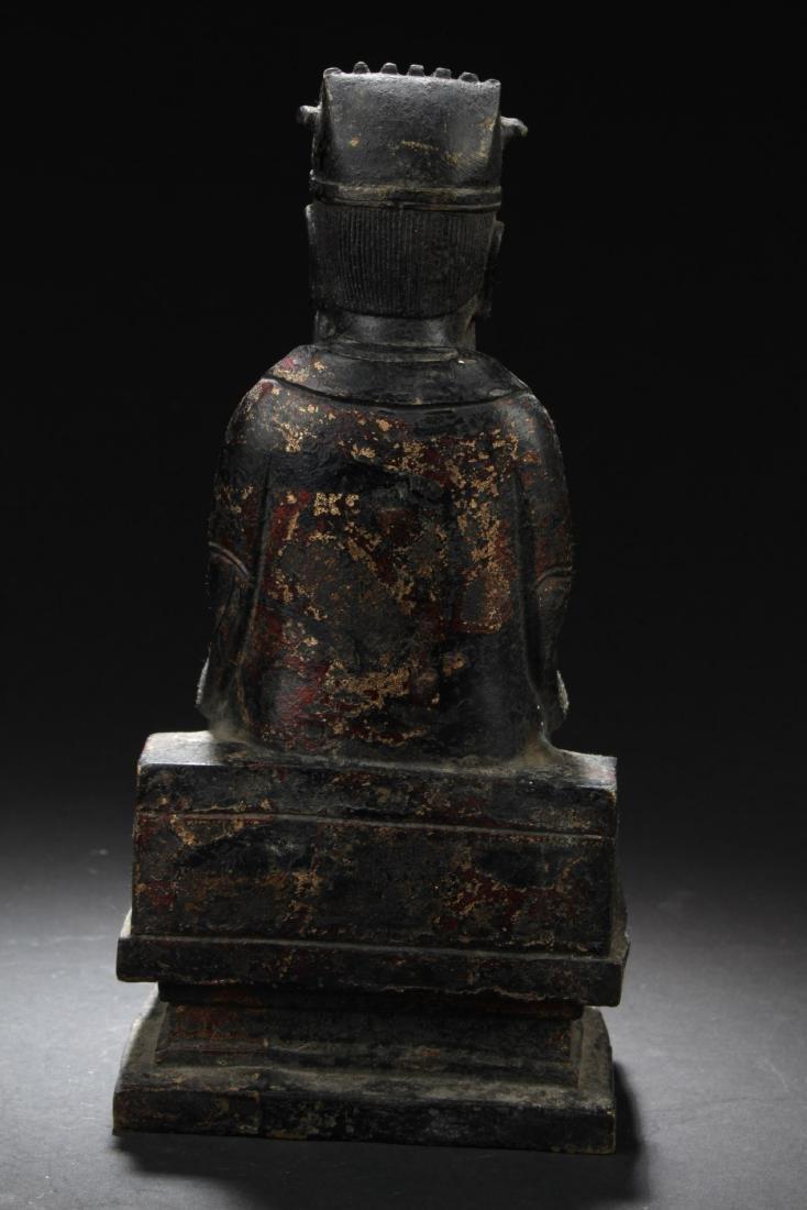 Chinese Bronze Deity Statue - 4