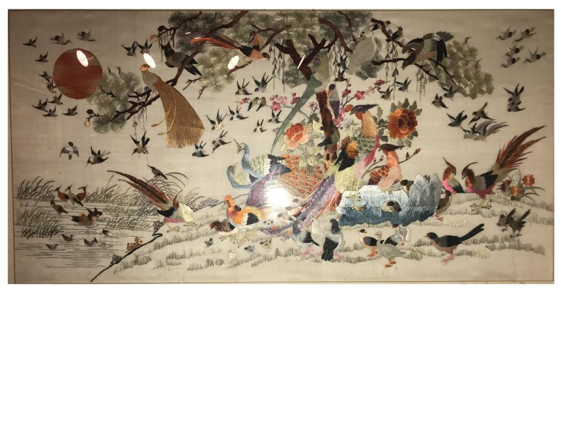 Chinese Framed Silk Embroidery Painting