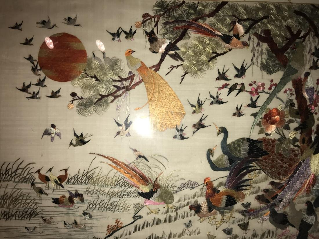 Chinese Framed Silk Embroidery Painting - 2