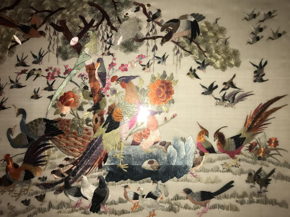Chinese Framed Silk Embroidery Painting - 3
