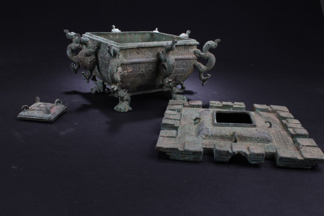 Chinese Rectangular Shaped Bronze Censer - 4