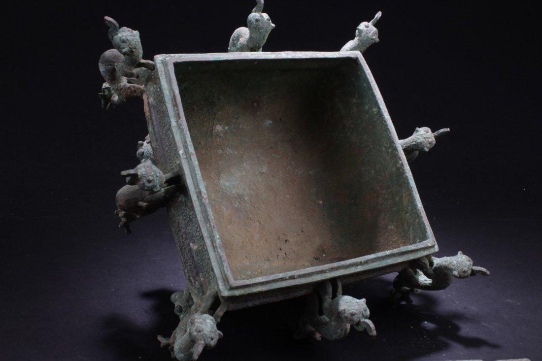 Chinese Rectangular Shaped Bronze Censer - 5