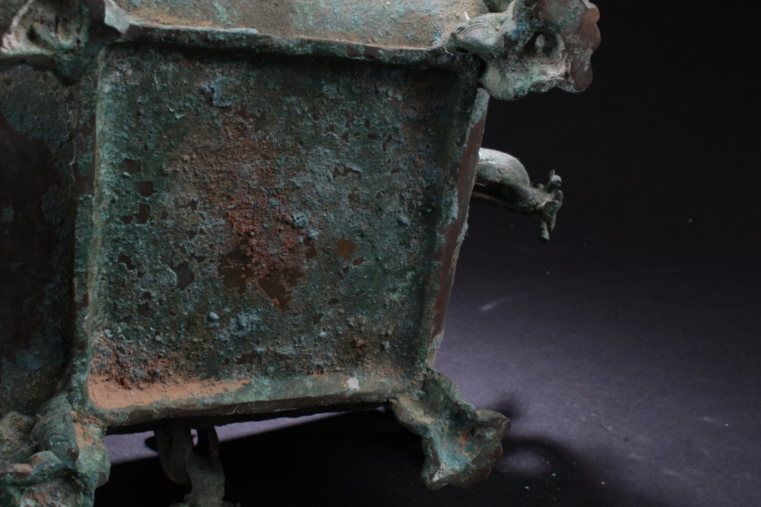 Chinese Rectangular Shaped Bronze Censer - 6