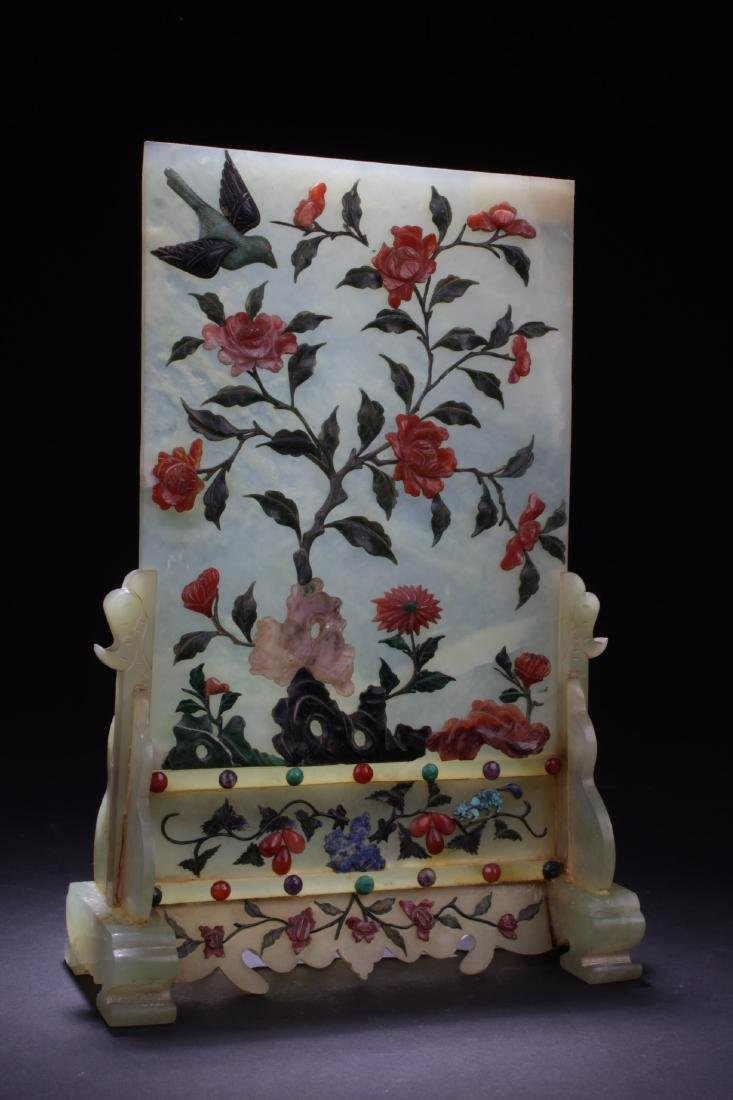 Chinese Antique Jade Table Screen