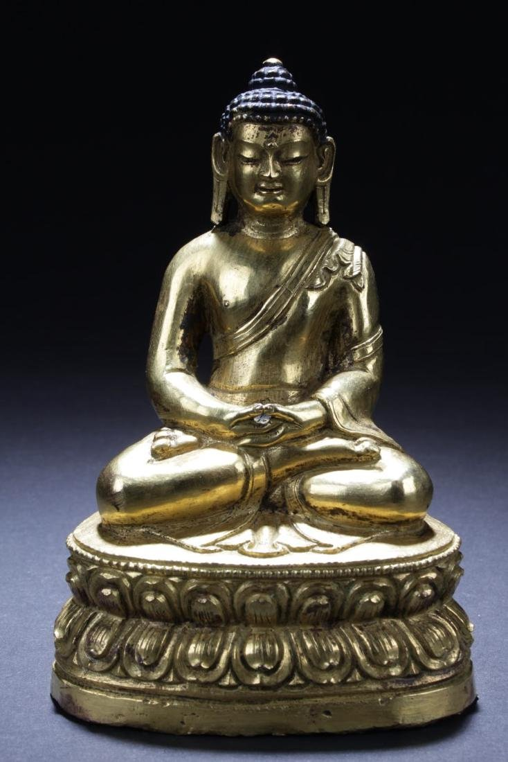 Antique Chinese Gilt Bronze Buddha