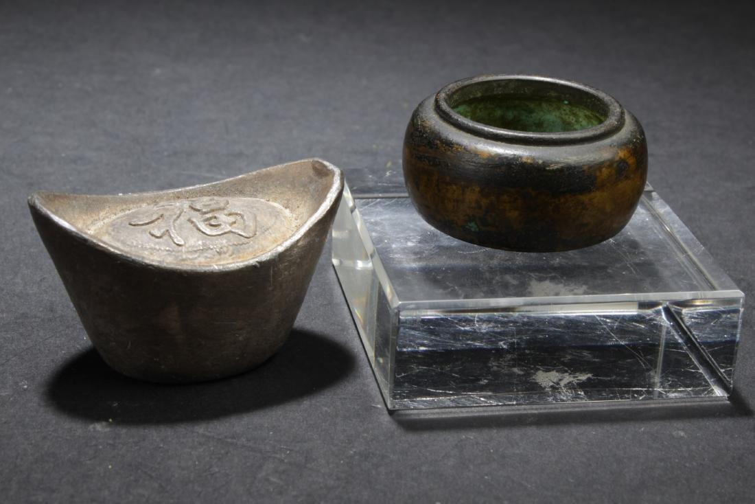 Chinese Ingot and Chinese Bronze Censer