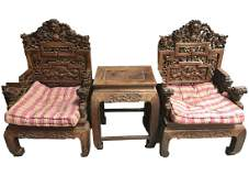 Chinese Hardwood Chair Set (one Table with Two