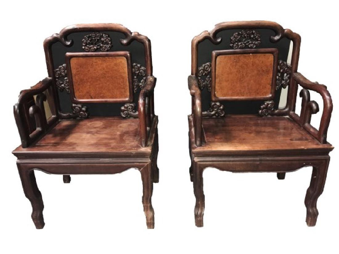 A Pair of Chinese Huanghuali & JiChiMu Chairs with Burl