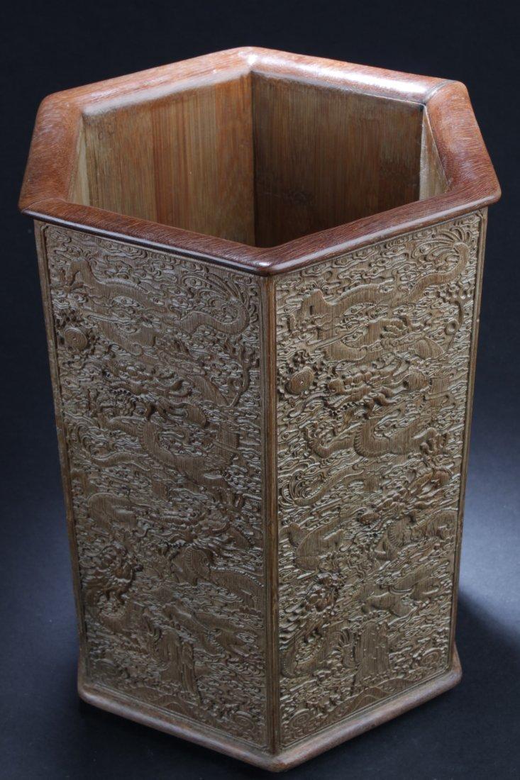 """Chinese Hardwood Hexagon Shaped Brushpot. Height: 12"""" - 2"""