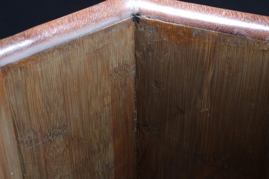 """Chinese Hardwood Hexagon Shaped Brushpot. Height: 12"""" - 3"""