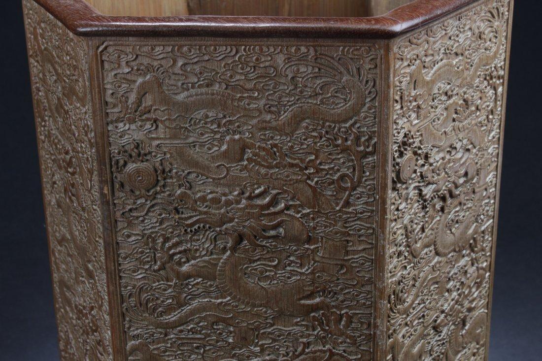 """Chinese Hardwood Hexagon Shaped Brushpot. Height: 12"""" - 4"""