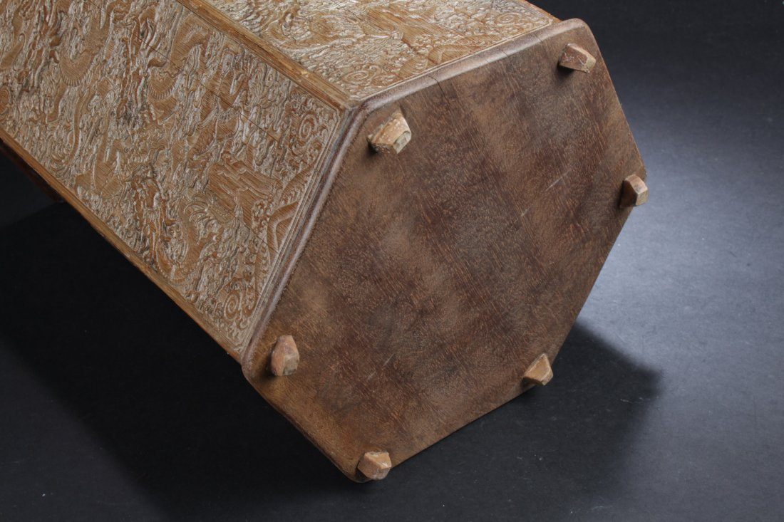 """Chinese Hardwood Hexagon Shaped Brushpot. Height: 12"""" - 5"""
