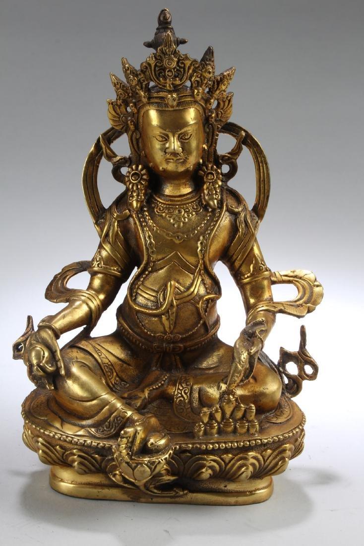 A Tibetan Gilt Bronze Bodhisattva Statue