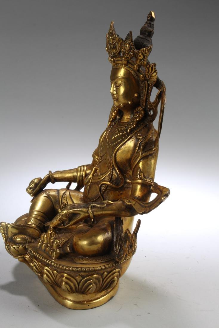 A Tibetan Gilt Bronze Bodhisattva Statue - 3