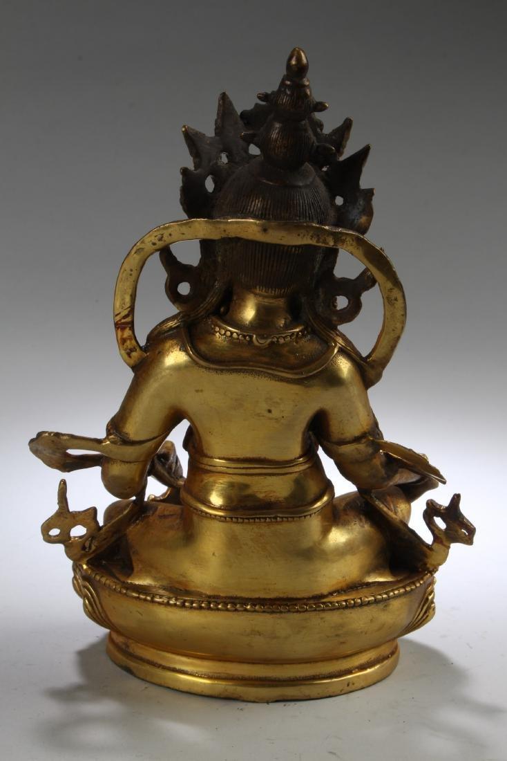 A Tibetan Gilt Bronze Bodhisattva Statue - 4