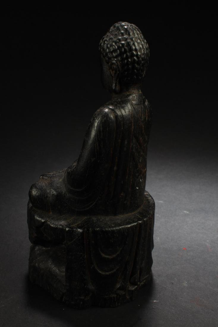 Chinese Wooden Carved Buddha Statue - 4