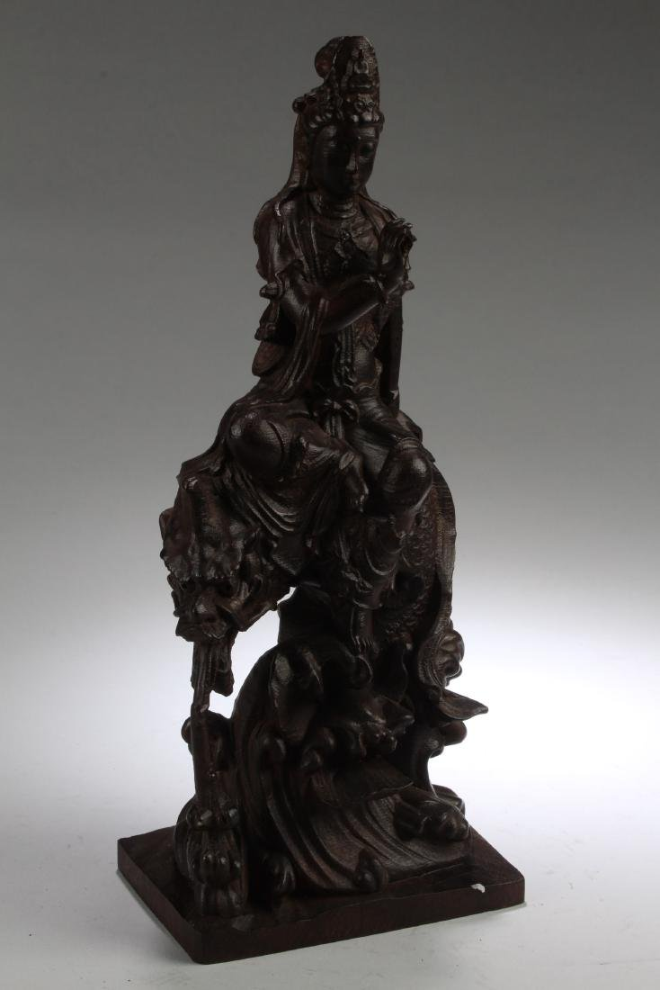 A Chinese Wooden Carved Guanyin Statue